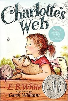 Charlotte's Web Author: E B White Illustrator: Garth Williams Publisher: Puffin This is the tale of how a little girl named Fern - with the help of a friendly talking spider called Charlotte - saved her pig, Wilbur, from the usual fate of nice fat little pigs.