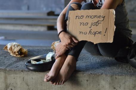 homeless unemployed punk woman begging
